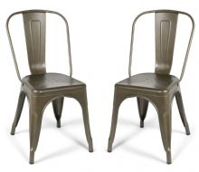 Pair of 2 Gun Metal Industrial Tolix Style Dining Chairs 1/2 Price Deal